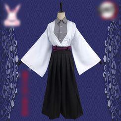 Mikasa - Demon Slayer: Kimetsu No Yaiba Yushiro Cosplay Costume Set / Clogs / Wig