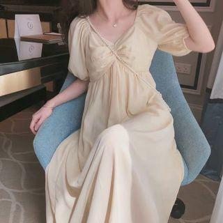 NEUF - Maternity Puff-Sleeve Midi A-Line Dress