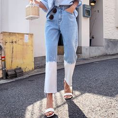 DEEPNY - Washed Gradation Loose-Fit Jeans