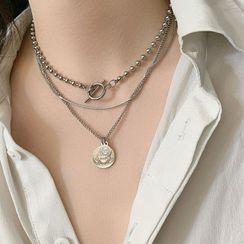 Juanitro - Layered Disc Pendant Necklace