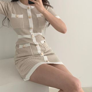 PINPI - Short-Sleeve Contrast Trim Bodycon Knit Dress