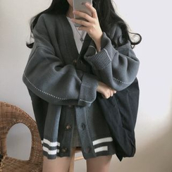 ever after - Contrast-Trim Oversized Knit Cardigan