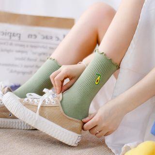 Cottonet - 波浪邊水果刺繡襪子
