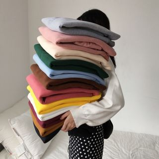 OGAWA - Round Neck Plain Fleece Sweatshirt