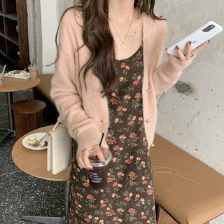 Closette - Cardigan / Spaghetti Strap Floral Print Midi A-Line Dress