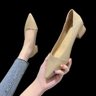 Novice(ノバイス) - Pointy-Toe Chunky-Heel Pumps