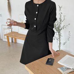 HOTPING - Shirtwaist Monotone A-Line Dress