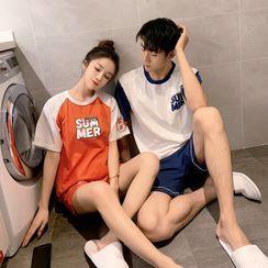 Endormi - Couple Matching Pajama Set: Short-Sleeve Letter Print T-Shirt + Shorts
