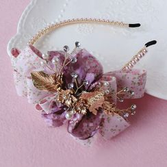 First Impression - Wedding Flower Chiffon Bow Headband / Hair Clip / Set