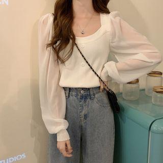Closette - Long-Sleeve Knit Panel Shirt