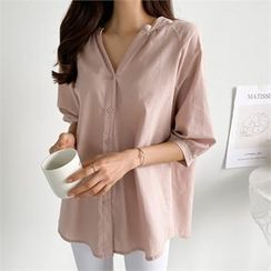 PIPPIN - Open-Placket Elbow-Sleeve Blouse