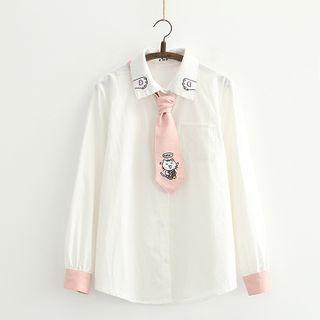 Sonado - Cat Printed Long-Sleeve Shirt With Tie