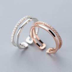 A'ROCH - 925 Sterling Silver Rhinestone Layered Open Ring