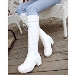 Freesia - Platform Lace-Up Tall Boots