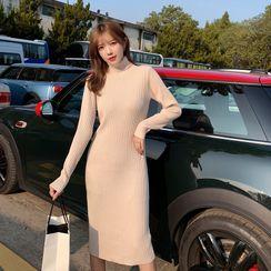 Yaonee - Turtleneck Long-Sleeve Midi Knit Dress