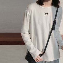 Guier - Long-Sleeve Moon Embroidery T-Shirt