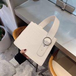 Mimosa - Croc Grain Faux Leather Crossbody Bag