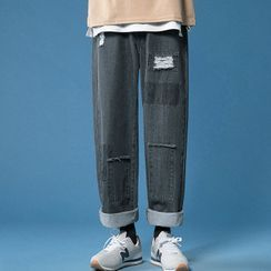Sindel - Distressed Paneled Straight Leg Jeans