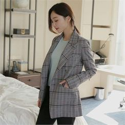 Styleberry - Double-Breasted Plaid Blazer