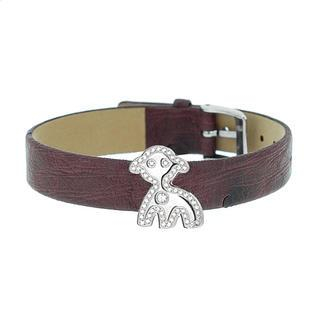 COSI MODA - Steel / Leather Bracelet with Cubic Zirconia