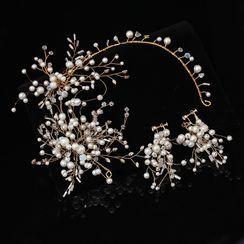 la Himi - 婚礼套装: 仿珍珠树枝发箍 + 耳坠
