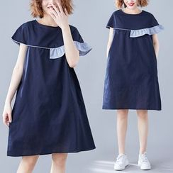 RAIN DEER - Ruffle Trim Short-Sleeve Shift Dress