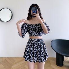 Aluli - Set: Floral Print Puff-Sleeve Cropped Swim Top + Swim Skirt