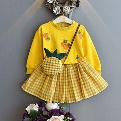 ZiG ZaG - Kids Set: Pineapple Crossbody Bag + Embroidered Pullover + Plaid Mini A-Line Skirt