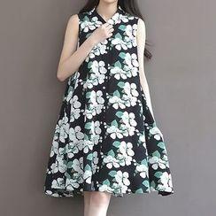 Ashlee - Floral Print Sleeveless Shirt Dress
