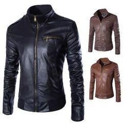 Aozora - Faux-Leather ZIp Jacket