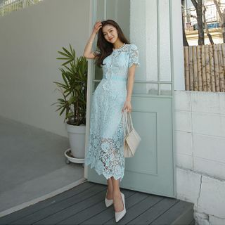 DABAGIRL - Buttoned Maxi Crochet-Lace Dress