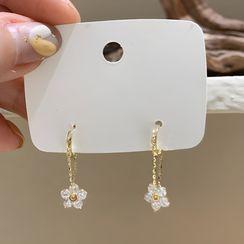 True Glam - Flower Rhinestone Dangle Earring