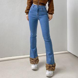 BrickBlack - Fluffy Leopard Print Trim Boot-Cut Jeans