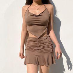 BrickBlack - 套装:纯色吊带背心 + 纯色迷你裙