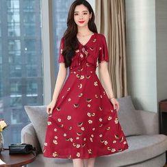 Ashlee - Short-Sleeve Print Chiffon A-Line Midi Dress