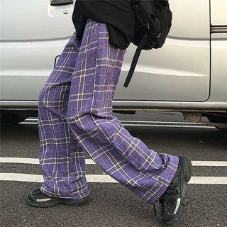 Kenning - Plaid Wide-Leg Pants