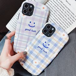 TinyGal - 笑脸印花格子手机保护壳 - iPhone 11 Pro Max / 11 Pro / 11 / SE / XS Max / XS / XR / X / SE 2 / 8 / 8 Plus / 7 / 7 Plus
