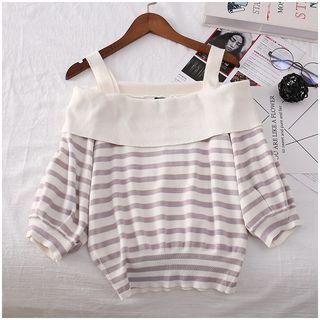Tintou - 短袖镂空肩条纹针织上衣