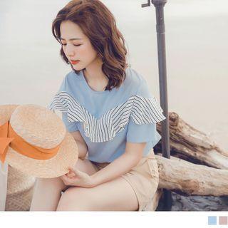 OrangeBear(オレンジベア) - Striped Ruffle Trim Short-Sleeve Chiffon Top