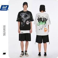 Newin - 涂鴉趣味小熊印花寬鬆短袖T恤