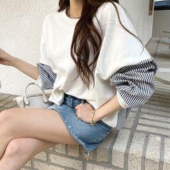 DEEPNY - Stripe-Panel Oversized Sweatshirt