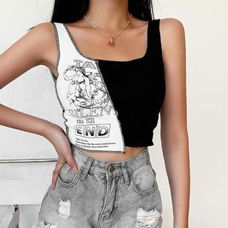 Salmone - Cartoon Print Panel Tank Top