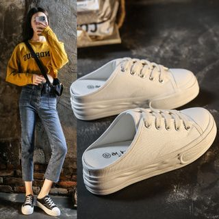 FRAISO(フライソ) - Canvas Platform Mule Sneakers