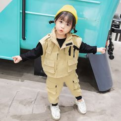 Ohori - Kids Set: Long-Sleeve Top + Vest + Cargo Pants