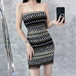 Mon Mon Muffy - Strapless Patterned Mini Dress