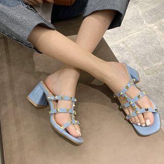 DEWA - Studded Chunky Heel Slide Sandals