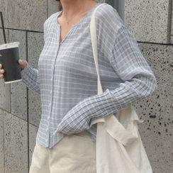 CHERRYKOKO - Striped Rib-Knit Cardigan
