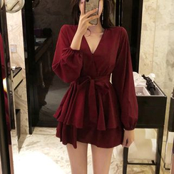 STARK - V-Neck Long-Sleeve A-Line Dress