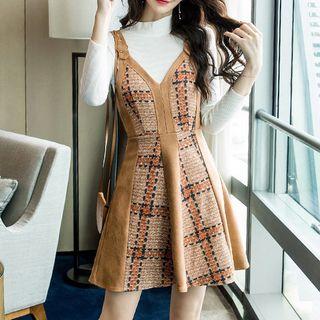 Yilda - Set: Mock Neck Knit Top + A-Line Pinafore Dress