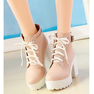Freesia - Lace-Up Chunky-Heel Platform Short Boots